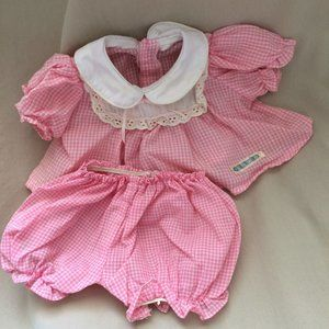 Vintage Cabbage Patch Pink White Baby Doll Outfit